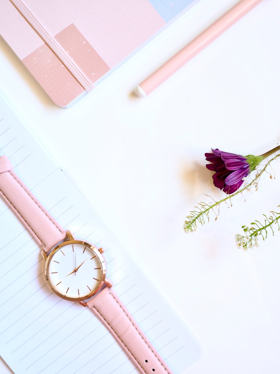 analog watch composition feminine flower